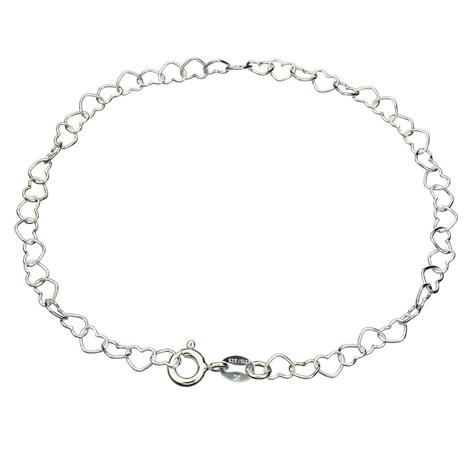 Sterling Silver Heart Link Nickel Free Chain Anklet Italy Adjustable