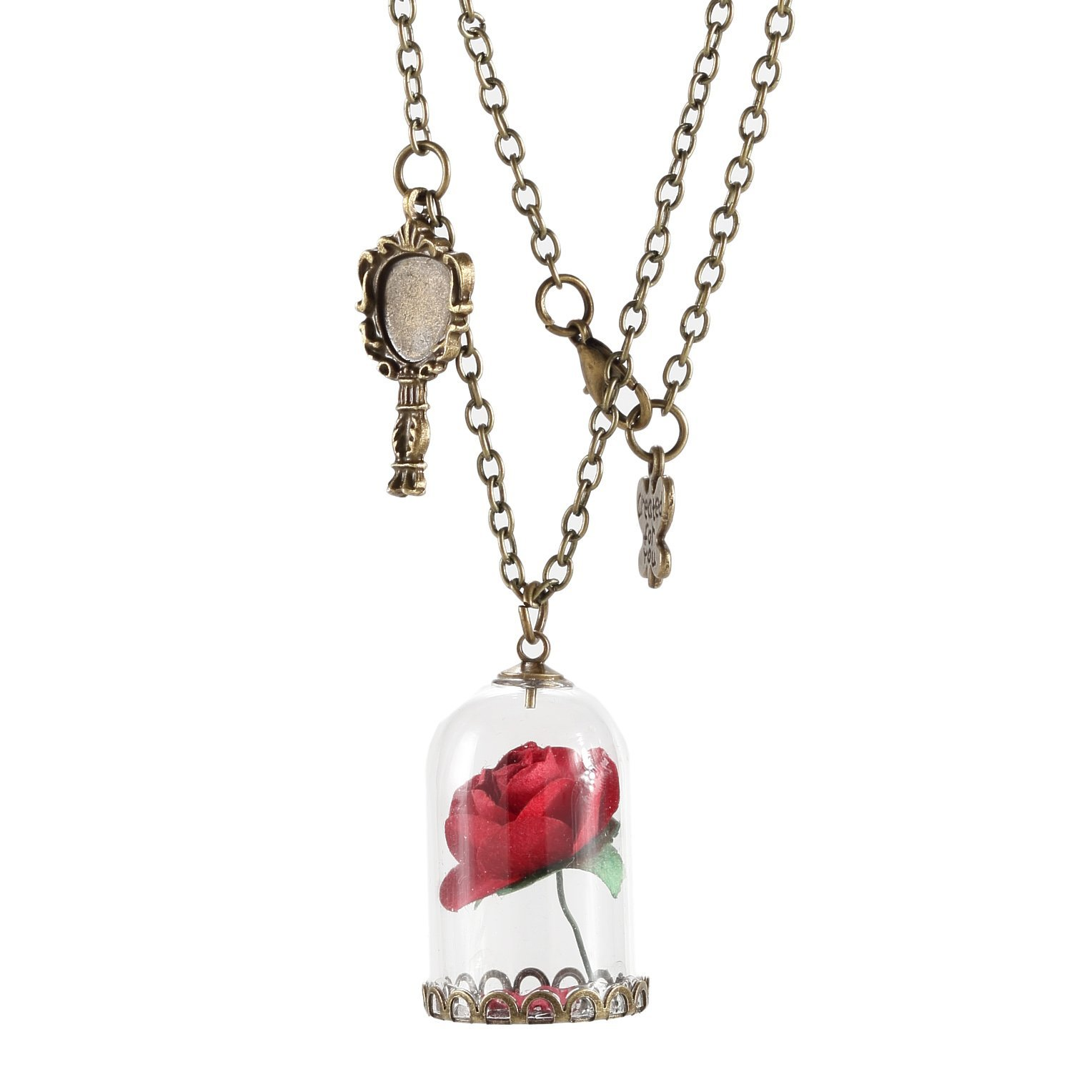 Glass Vial Necklace Jewelry Beauty and the Beast Rose Necklace Festival Gifts by WOFO