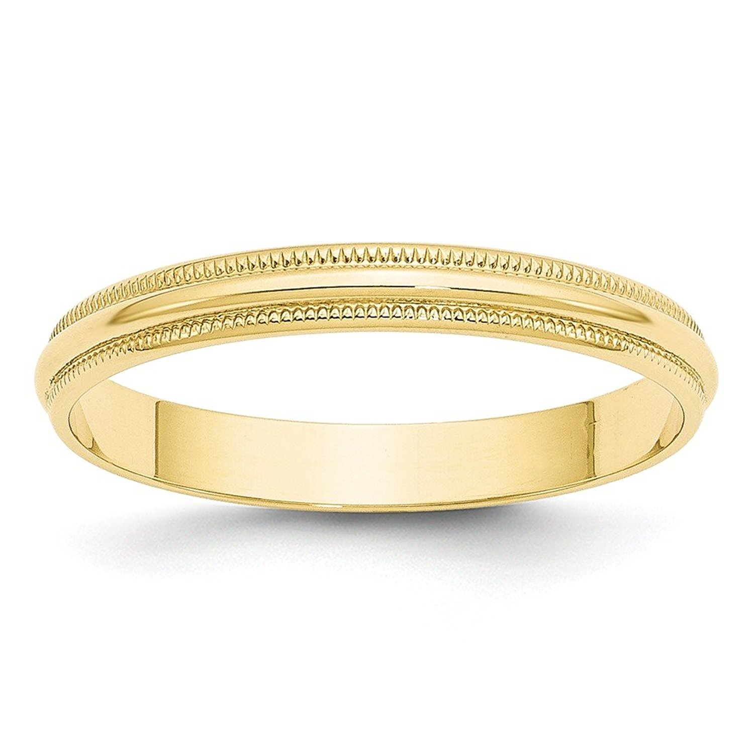 Solid 10k Yellow Gold 3 mm Round Milgrain Wedding Band Ring