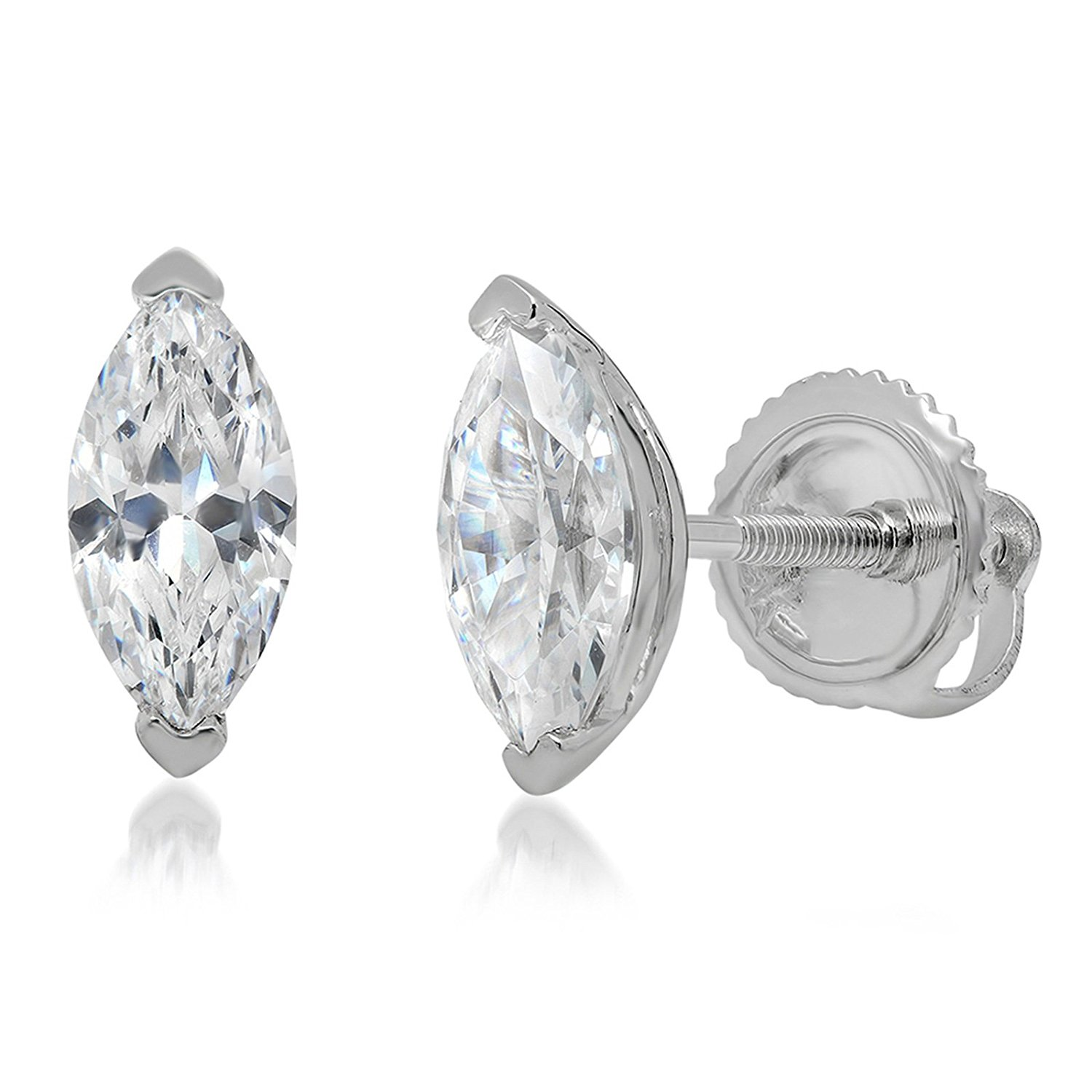 Clara Pucci 0.90 CT Brillaint Marquise Cut Solitaire Stud Earrings14k White Gold Screw Back