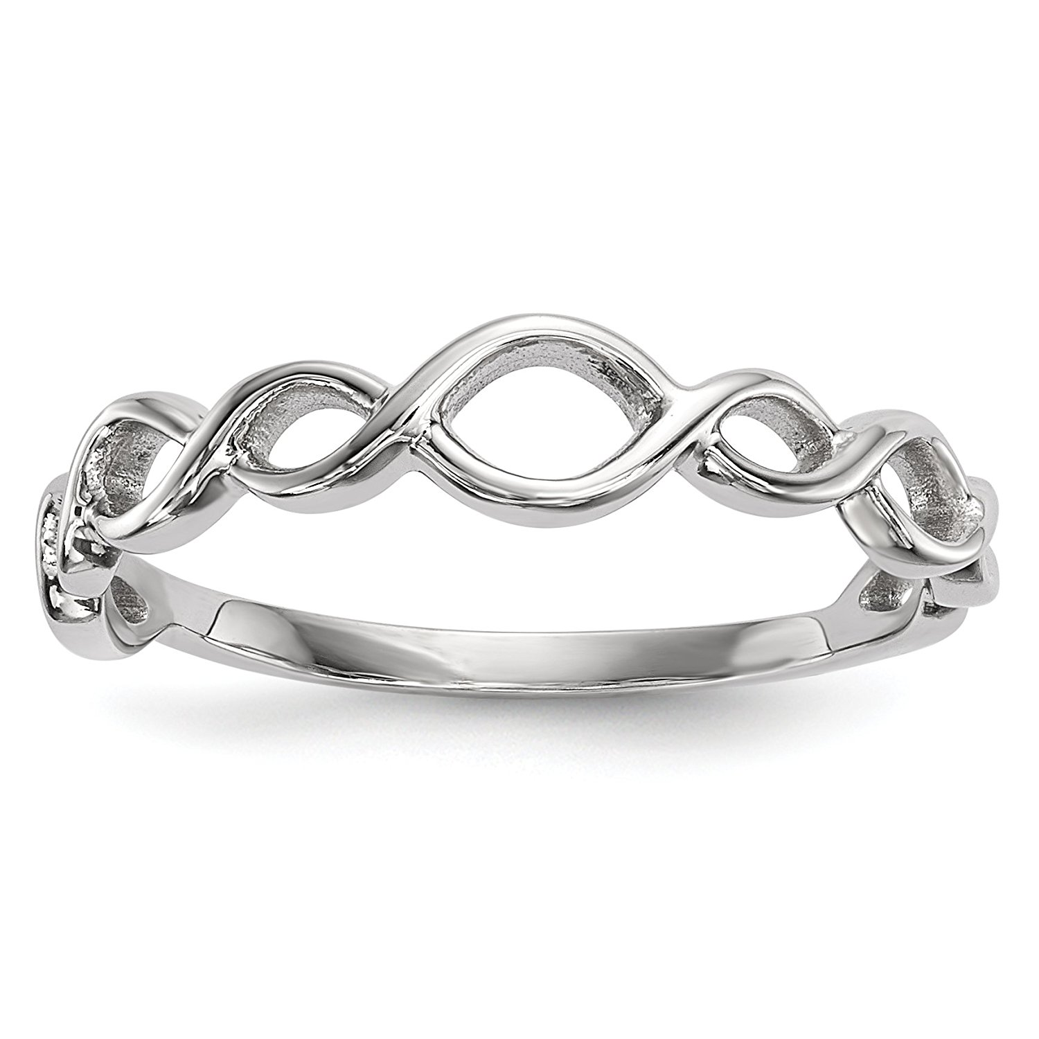 ICE CARATS 14k White Gold Twisted Loops Band Ring Infinity