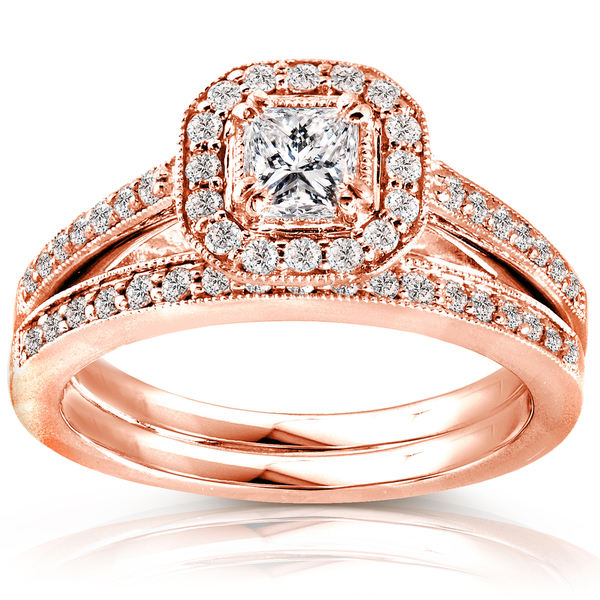 Annello by Kobelli 14k Rose Gold 5/8ct TDW Princess Diamond Halo Bridal Set