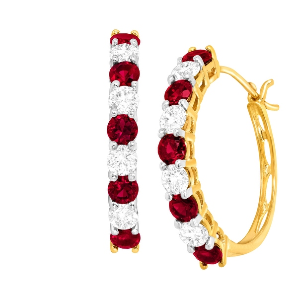 2 5/8 ct Created Ruby & White Sapphire Hoop Earrings in 10K Gold - Red