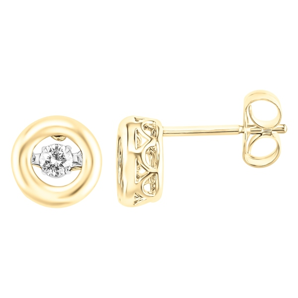 10K Yellow Gold 1/4CT.TW Moving Diamond Stud Earrings
