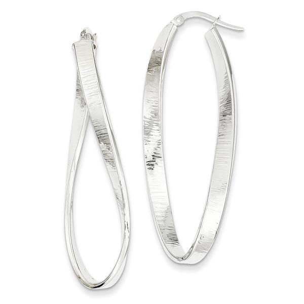 14 Karat White Gold Textured Twisted Oval Hoop Earrings