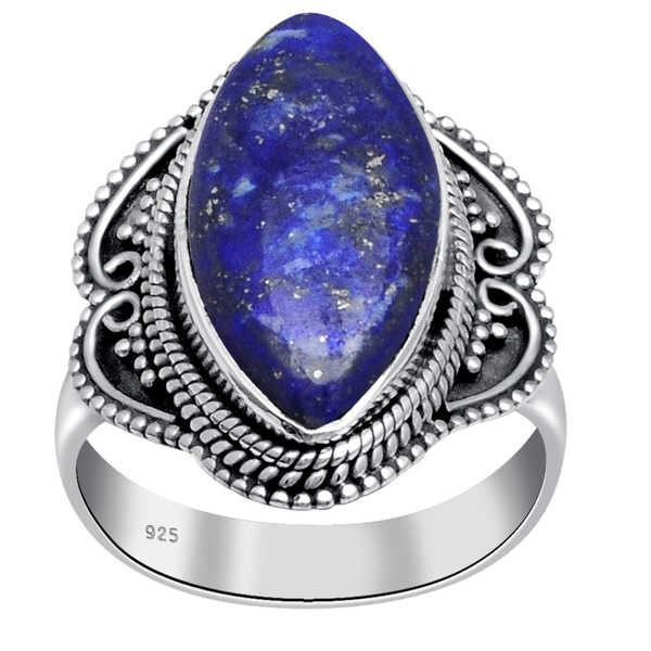 Orchid Jewelry 14 Carat Lapis Lazuli 925 Sterling Silver Oxidized Ring