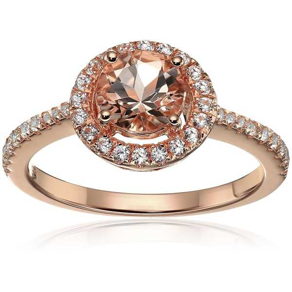 Rose Gold-plated Silver Morganite Created Sapphire Engagement Ring Sz7 - Pink