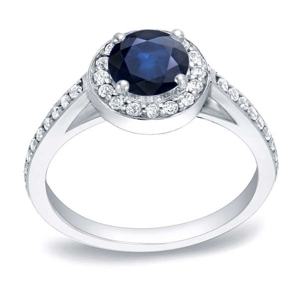 Auriya Platinum 3/4ct Blue Sapphire and 1/3ct TDW Diamond Halo Engagement Ring (H-I, SI1-SI2)