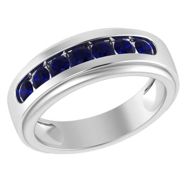 Orchid Jewelry Sterling Silver Father's Day Sapphire Men's Band Ring