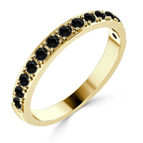 Auriya 10K Gold Stackable 3/8ct TDW Black Diamond Ring