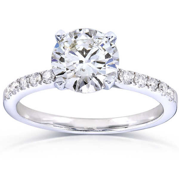 Annello by Kobelli 14k White Gold 1 4/5ct TDW Certified Round Diamond Solitaire Ring