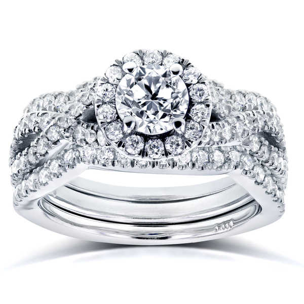 Annello by Kobelli 14k White Gold 1 2/5ct TDW Diamond Crossover Halo 3 Ring Bridal Set