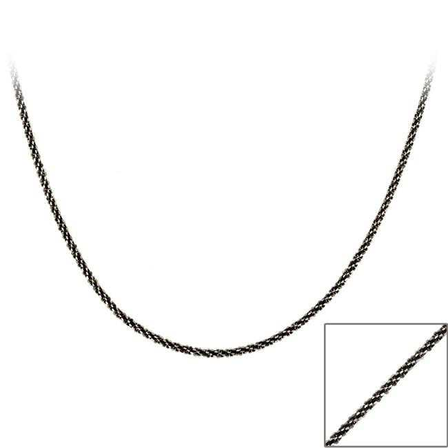 Mondevio Black Rhodium over Silver 24-inch Diamond-cut Necklace