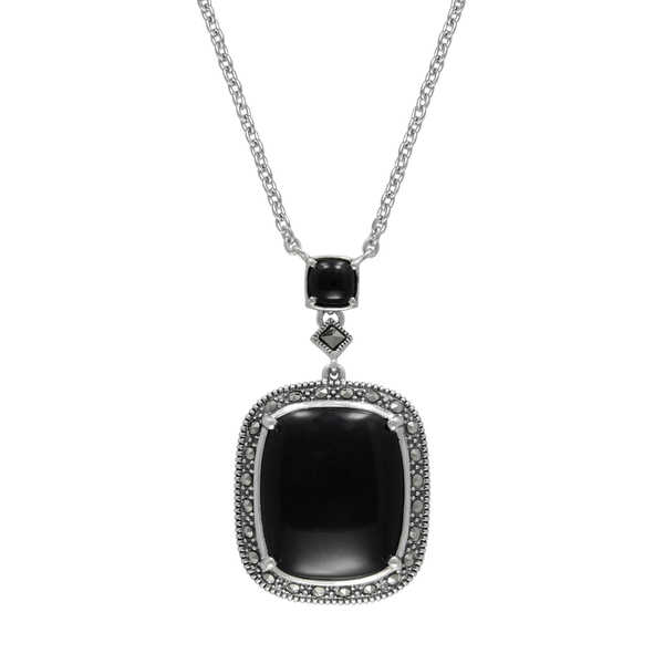 MARC Sterling Silver Cabochon Cushion Cut Black Onyx & Marcasite in 18' chain