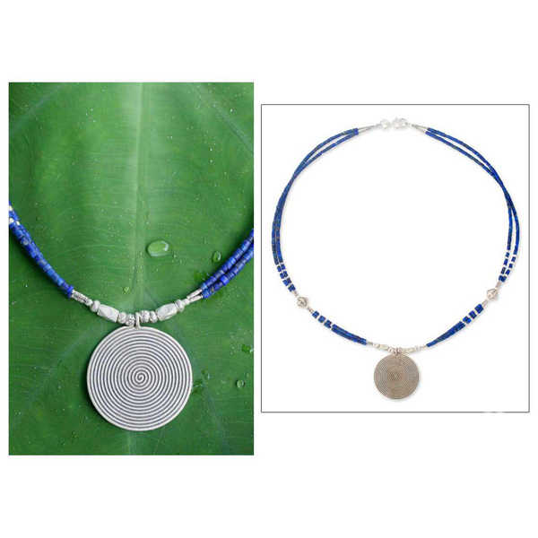 Handmade Sterling Silver 'Mind Journey' Lapis Lazuli Necklace (Thailand)