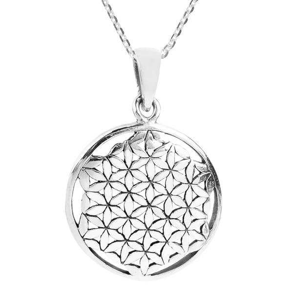 Handmade Flower of Life Interconnecting Lilies 26mm Sterling Silver Necklace (Thailand)