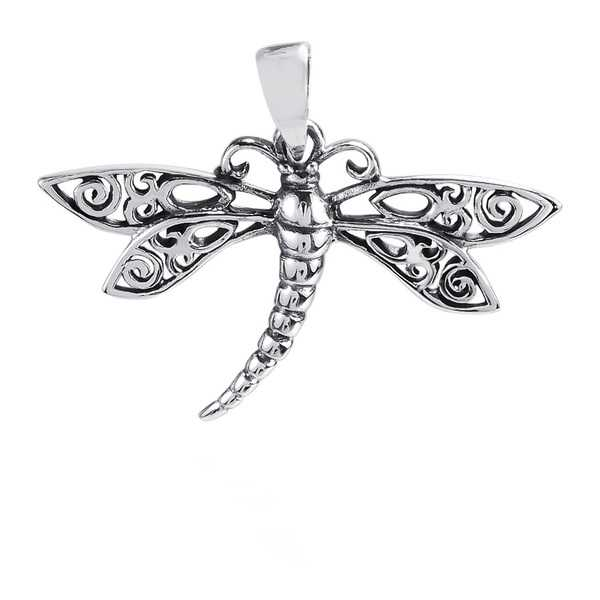 Handmade Swirl Filigree Wings Dragonfly Sterling Silver Pendant (Thailand)
