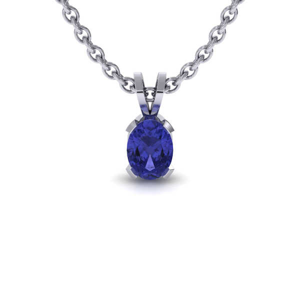 1/2 TGW Oval Shape Tanzanite Necklace In Sterling Silver, 18 Inches