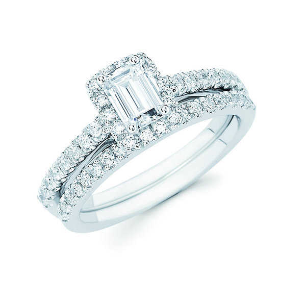 Boston Bay Diamonds 14k White Gold 1ct TDW Emerald-cut Center Bridal Ring Set (I, I1)