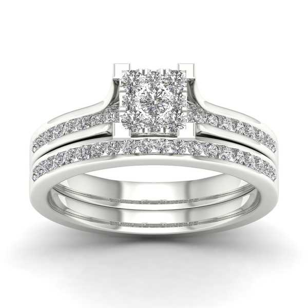 De Couer 10k White Gold 1/2ct TDW Diamond Cluster Bridal Set