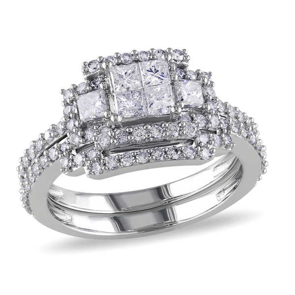 Miadora Signature Collection 14k White Gold 1 1/5ct TDW Bridal Ring Set