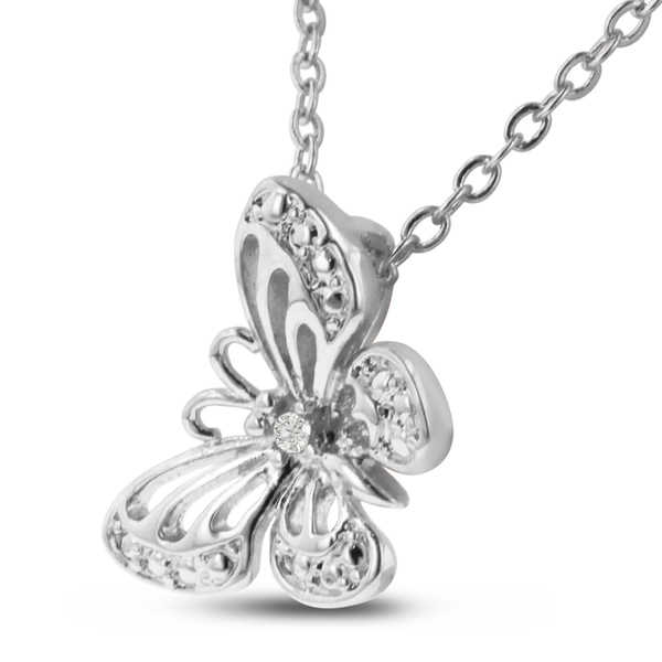 Diamond Accent Butterfly Necklace, 18 Inches, Platinum Over Brass