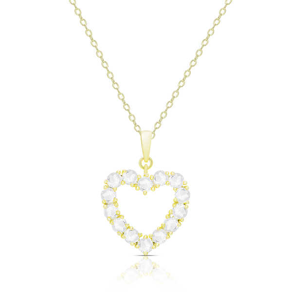 Finesque Gold Over Silver or Sterling Silver 1.40ct TDW Diamond Heart Necklace