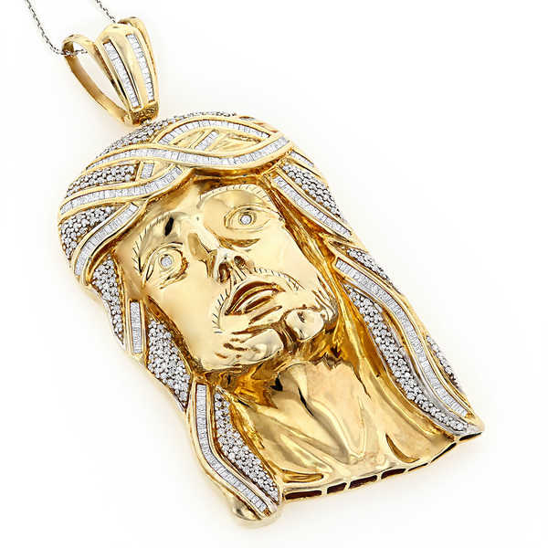 Luxurman Sterling Silver 5ct TDW Diamond Jesus Face Necklace