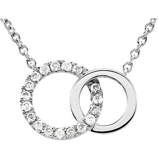 14kt White Gold .06 CTW Diamond Circle 18' Necklace