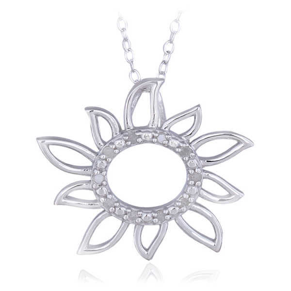 DB Designs Sterling Silver 1/10ct TDW Diamond Sun Necklace