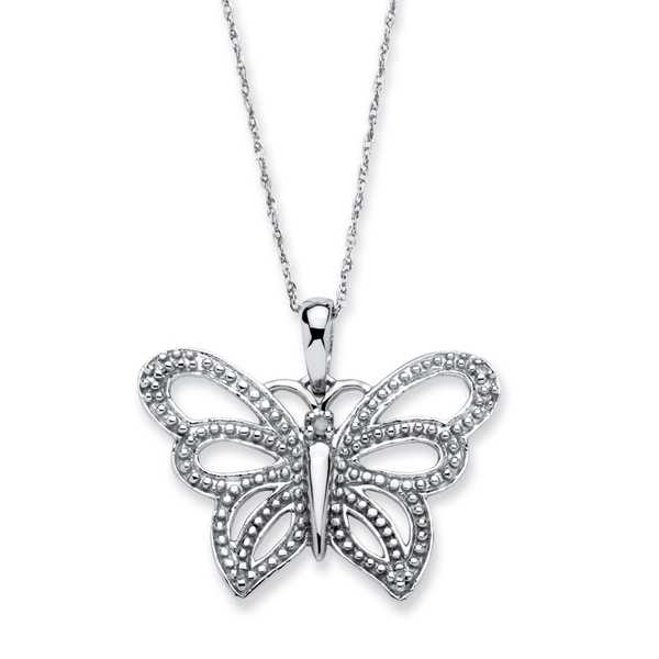 10k White Gold Diamond Accent Butterfly 18-inch Necklace