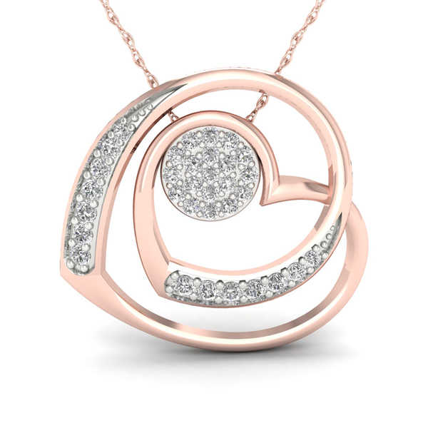 De Couer 10K Rose Gold 1/3ct TDW Diamond Heart and Cluster Convertible Necklace - Pink