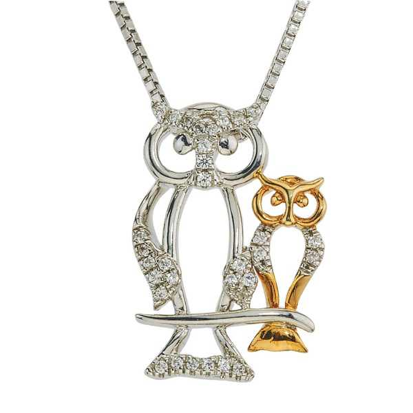 Diamond Owl Mom & Child Necklace