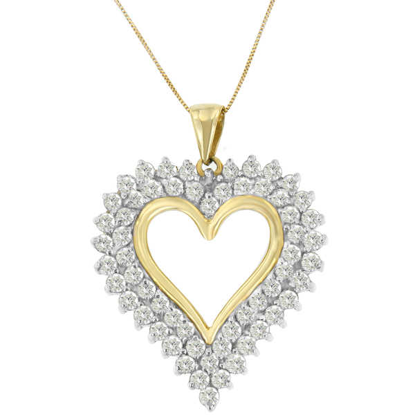 10K Yellow Gold 3 CTTW Round Cut Diamond Open Heart Pendant Necklace (K-L, I2-I3)