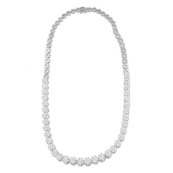 14K White Gold 8 CTTW Round Cut Diamond Necklace (H-I,SI2-I1)