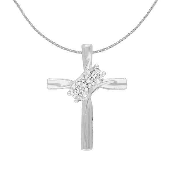 Sterling Silver 0.1 CTTW Round Cut Diamond Cross Pendant Necklace (I-J, I3)
