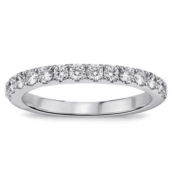 Platinum 1/2ct TDW Pave-set Diamond Anniversary Wedding Ring
