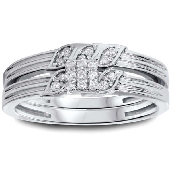 10k White Gold 1/4ct TDW Diamond 2-piece Ring Set