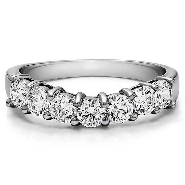 Sterling Silver Contour Style Anniversary Wedding Ring mounted with Diamonds (G-H, I2-I3) (0.25 Cts. twt)