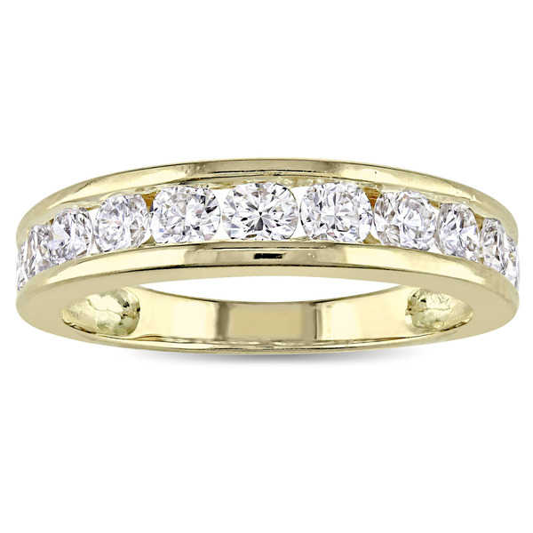 Miadora Signature Collection 14k Yellow Gold 1ct TDW Diamond Channel-Set Nine-Stone Semi-Eternity Ri