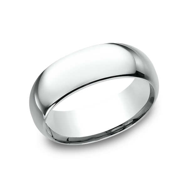 Platinum Traditional Domed Profile Comfort Fit Wedding Band (8mm)