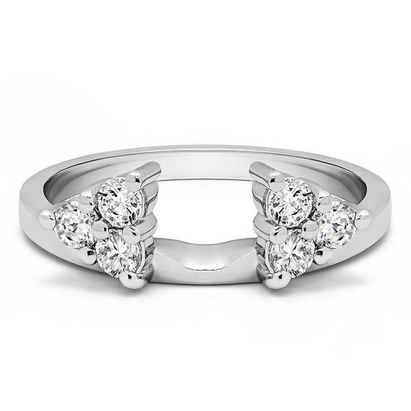 Platinum Three Stone Ring Wrap Enhancer With Diamonds (G-H,SI2-I1) (0.12 Cts., G-H, SI1-SI2)