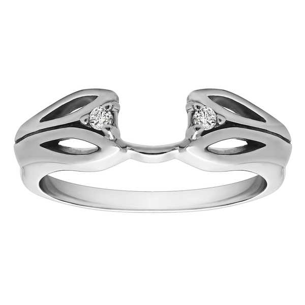 10k White Gold Cut Out Design Ring Wrap With Diamonds (G-H,I1-I2) (0.04 Cts., G-H, I1-I2)