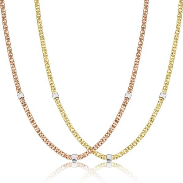 Fremada 14k Two-Tone Gold Bismark And Cube Station Necklace (18 inch)