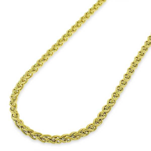 14k Yellow Gold 3mm Hollow Wheat Spiga Link Necklace Chain