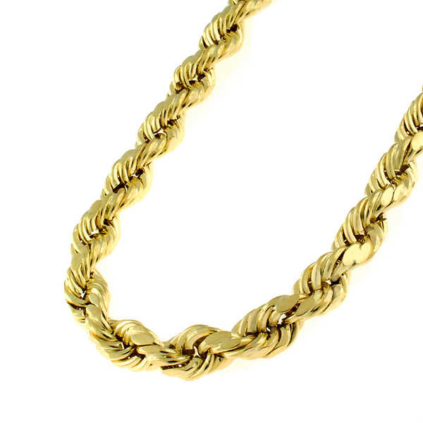 14k Yellow Gold 5.5-millimeter Solid Rope Diamond-cut Chain
