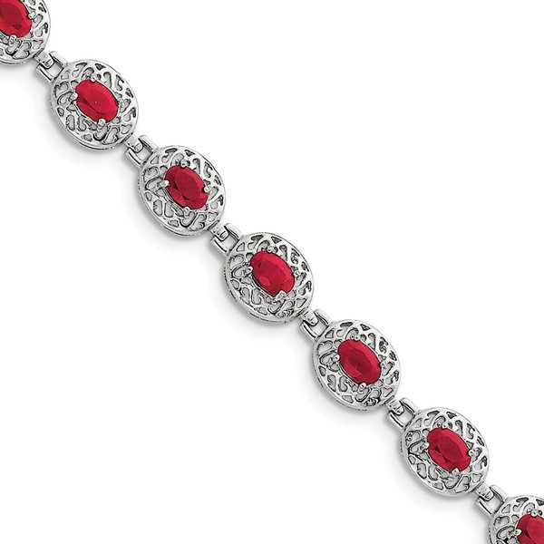 Sterling Silver Rhodium-plated Ruby Bracelet