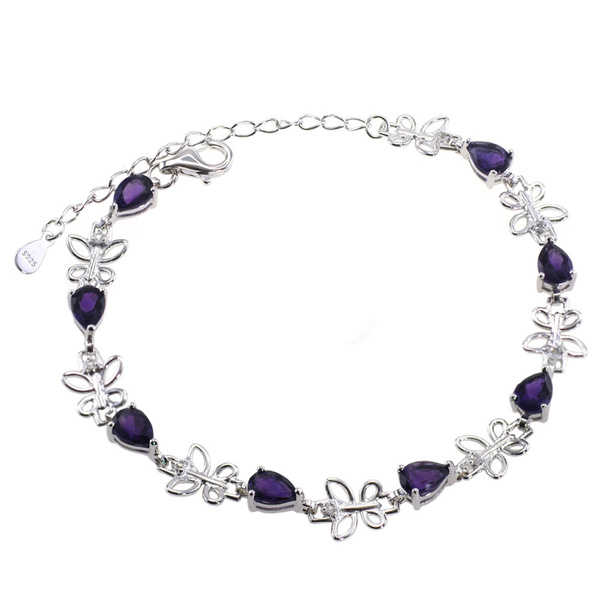 De Buman Sterling Silver Natural Garnet, Peridot, Amethyst or Multi-colored Gemstones with White Topaz Bracelet