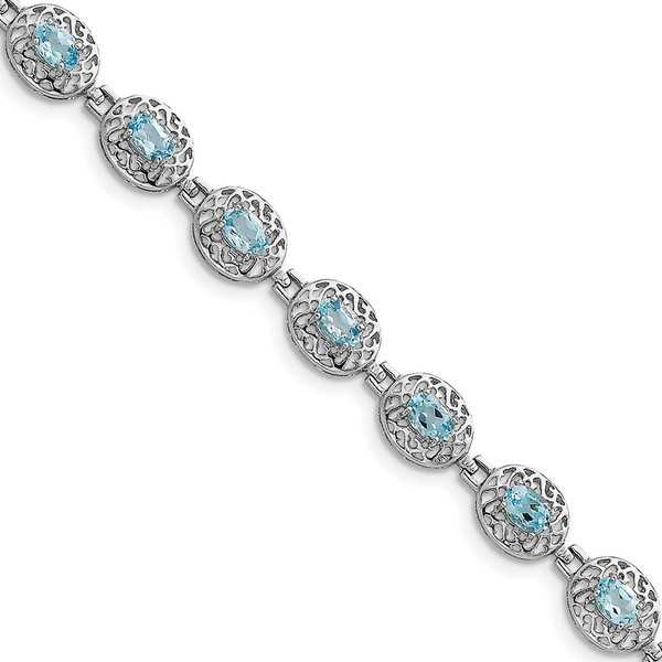 Sterling Silver Rhodium-plated Blue Topaz Filigree Bracelet