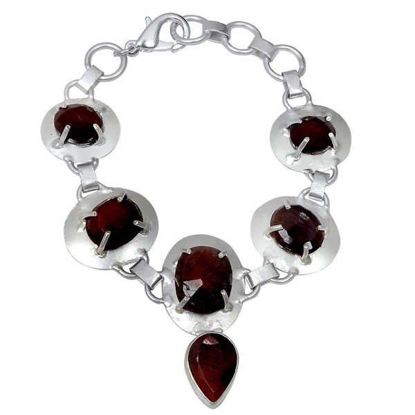 Orchid Jewelry Silver Overlay 34ct TGW Genuine Ruby Bracelet